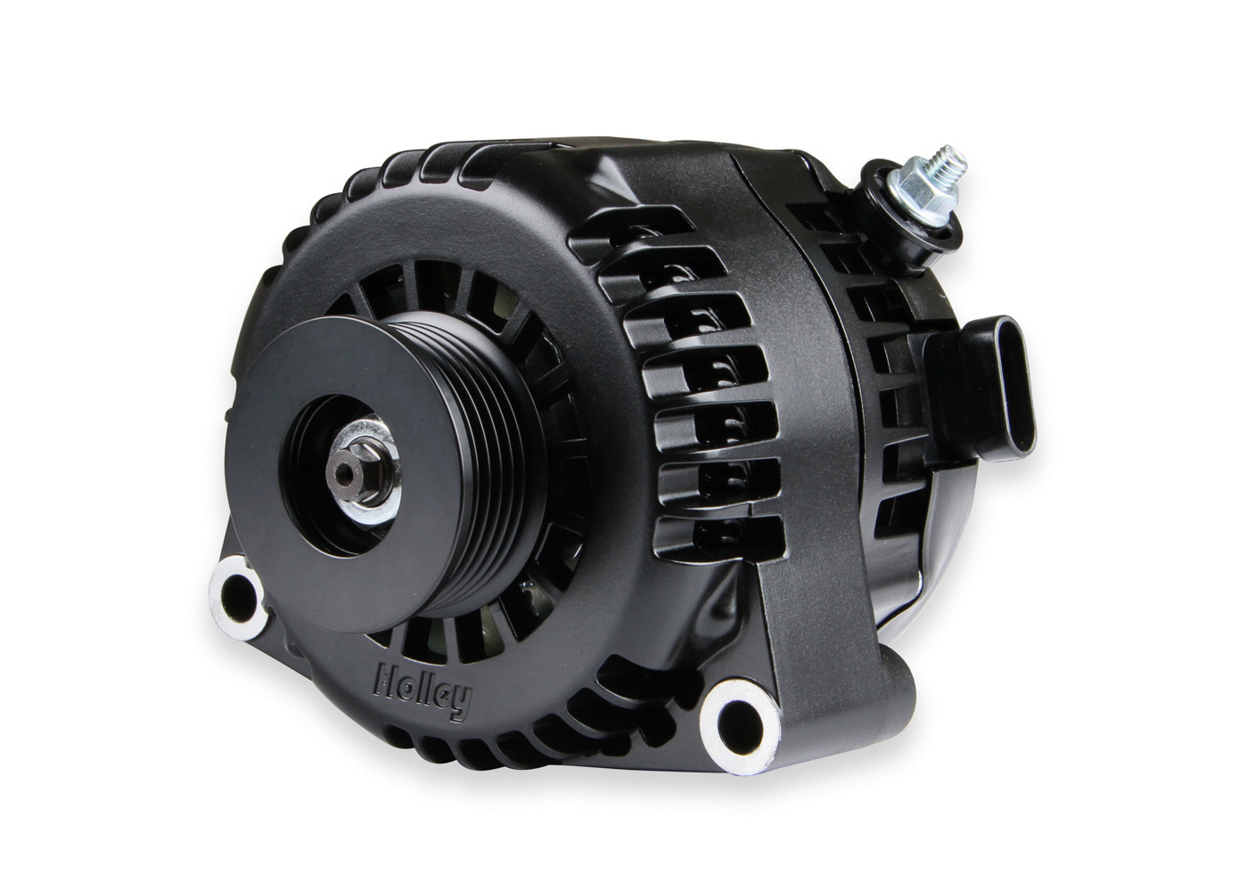 Holley 197-303 Alternator, 150 amp, 12V, Internal Regulator, 6 Rib Serpentine Pulley, OE Plug / 1 Wire, Aluminum, Black, GM LS-Series, Each