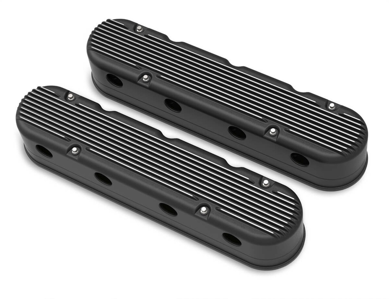 Holley 241-182 Valve Cover, Stock Height, Finned, Aluminum, Satin Black, GM LS-Series, Kit