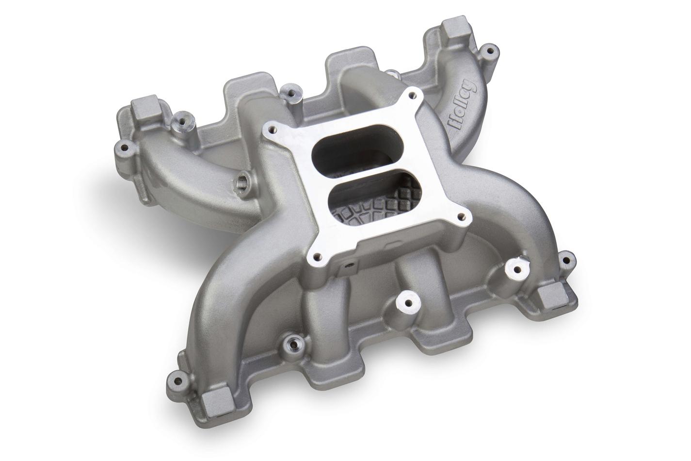 Holley 300-130 Intake Manifold, Dual Square Bore, Dual Plane, Aluminum, Natural, LS1 / LS2 / LS6, GM LS-Series, Each