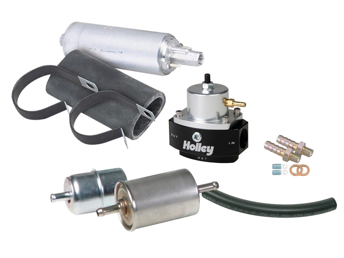Holley 526-4 Fuel System, Terminator EFI, Filters / Fittings / Reinforced Rubber Hose / Pump / Regulator, 6 AN, Black / Silver, Kit
