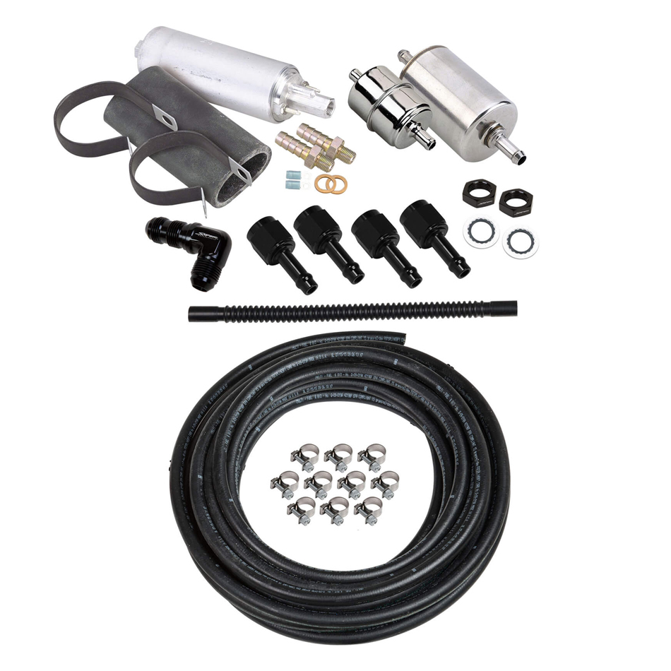 Holley 526-7 Fuel System, Sniper EFI, Filters / Fittings / Reinforced Rubber Hose / Pump / Regulator, 6 AN, Black / Silver, Kit