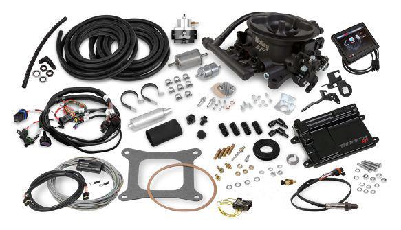 Holley 550-406K Fuel Injection, Terminator EFI, Throttle Body, Square Bore, 80 lb/hr Injectors, 950 CFM, Cast Aluminum, Gray Anodized, Kit