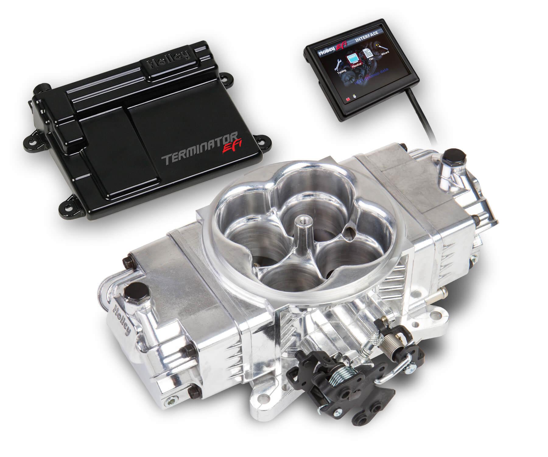 Holley 550-440K Fuel Injection, Terminator Stealth EFI Master, Throttle Body, Square Bore, Fuel Pump / Filter / Hose / Regulator / Fittings, Aluminum, Polished, Kit