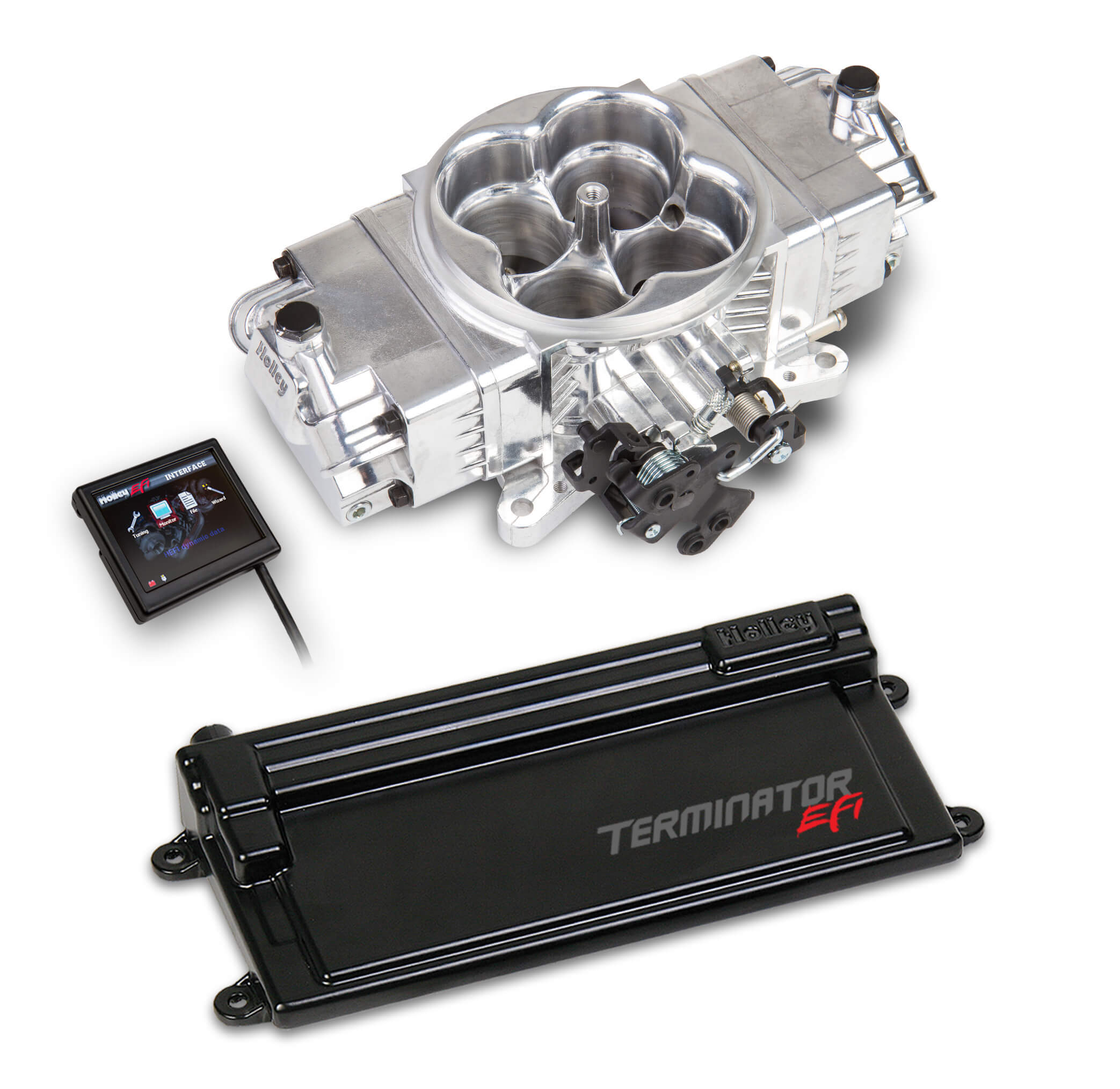Holley 550-442 Fuel Injection, Terminator Stealth EFI, Throttle Body, Square Bore, 3.5 in Touch Screen/Transmission Harness/Tuner, Aluminum, Polished, V8, Kit