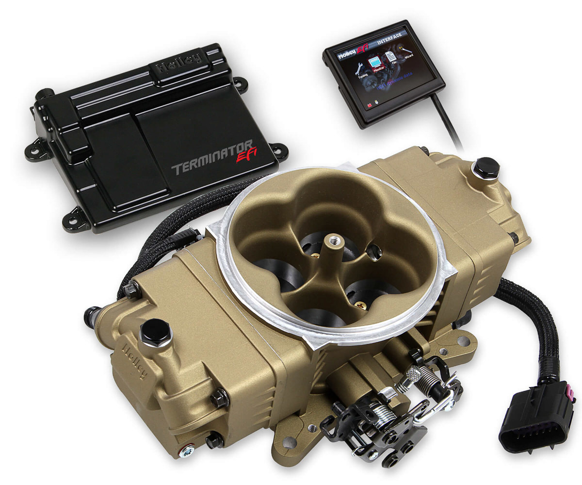 Holley 550-444 Fuel Injection, Terminator Stealth EFI, Throttle Body, Square Bore, 3.5 in Touch Screen/Transmission Harness/Tuner, Aluminum, Gold, V8, Kit