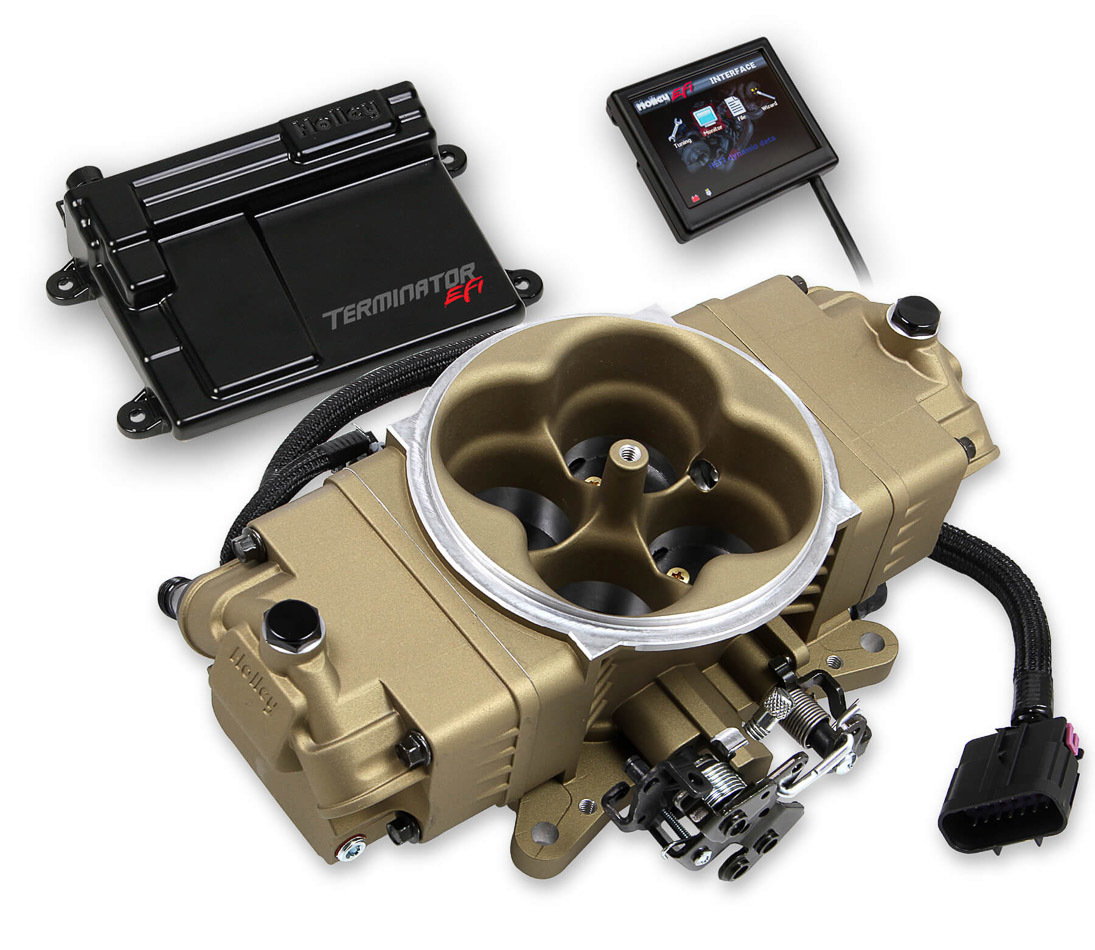 Holley 550-444K Fuel Injection, Terminator Stealth EFI Master, Throttle Body, Square Bore, Fuel Pump / Filter / Fittings / Harness / Hose / Regulator / Tuner, Aluminum, Gold, V8, Kit