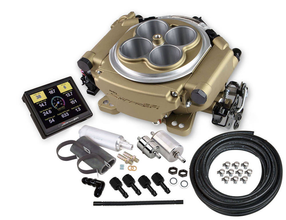 Holley 550-516K Fuel Injection, Sniper EFI, Throttle Body, Square Bore, Fittings / Fuel Pressure Regulator / O2 Sensor / Programmer Included, Aluminum, Gold Anodize, Kit