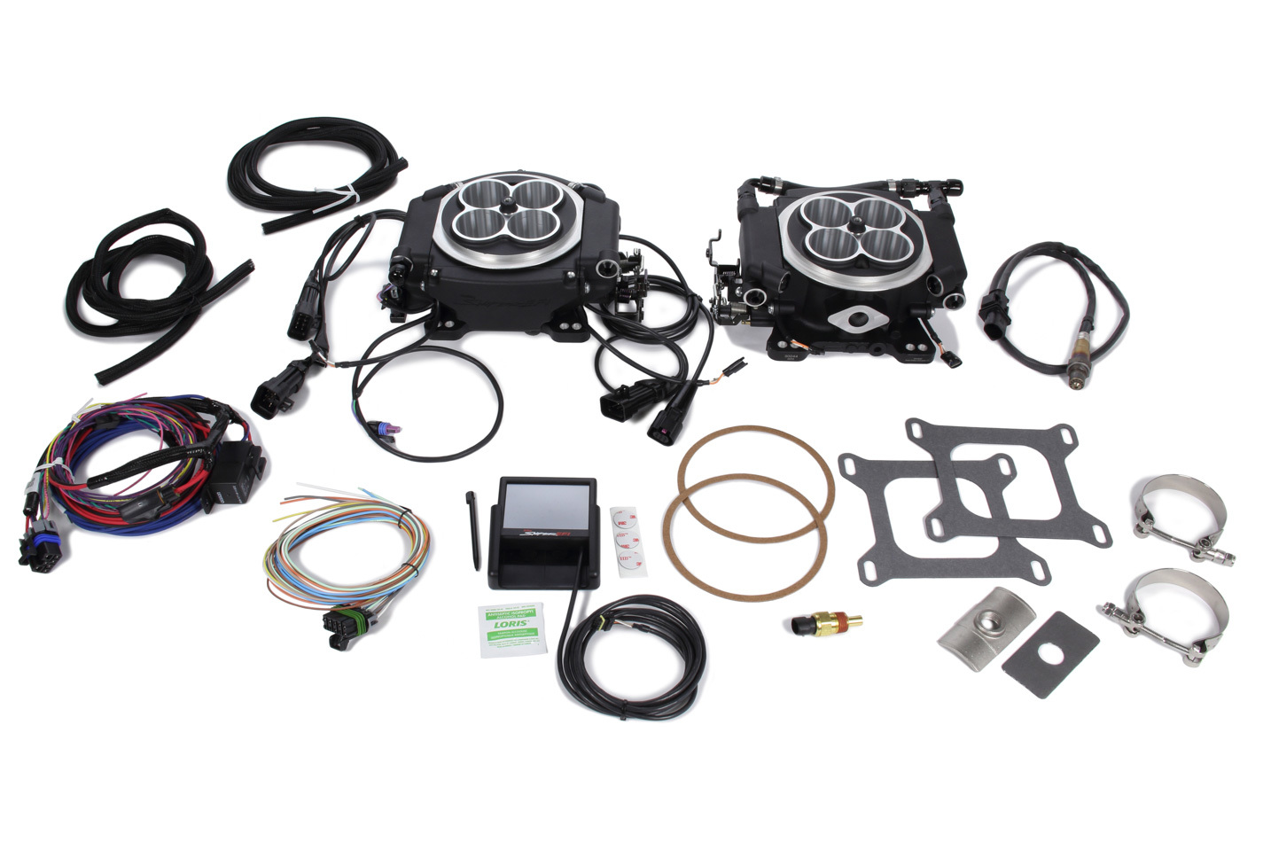 Holley 550-528 Fuel Injection Kit, Sniper EFI 4150 2x4, Throttle Body, Square Bore, 100 lb/hr Injectors, 1600 CFM, Aluminum, Black, Kit