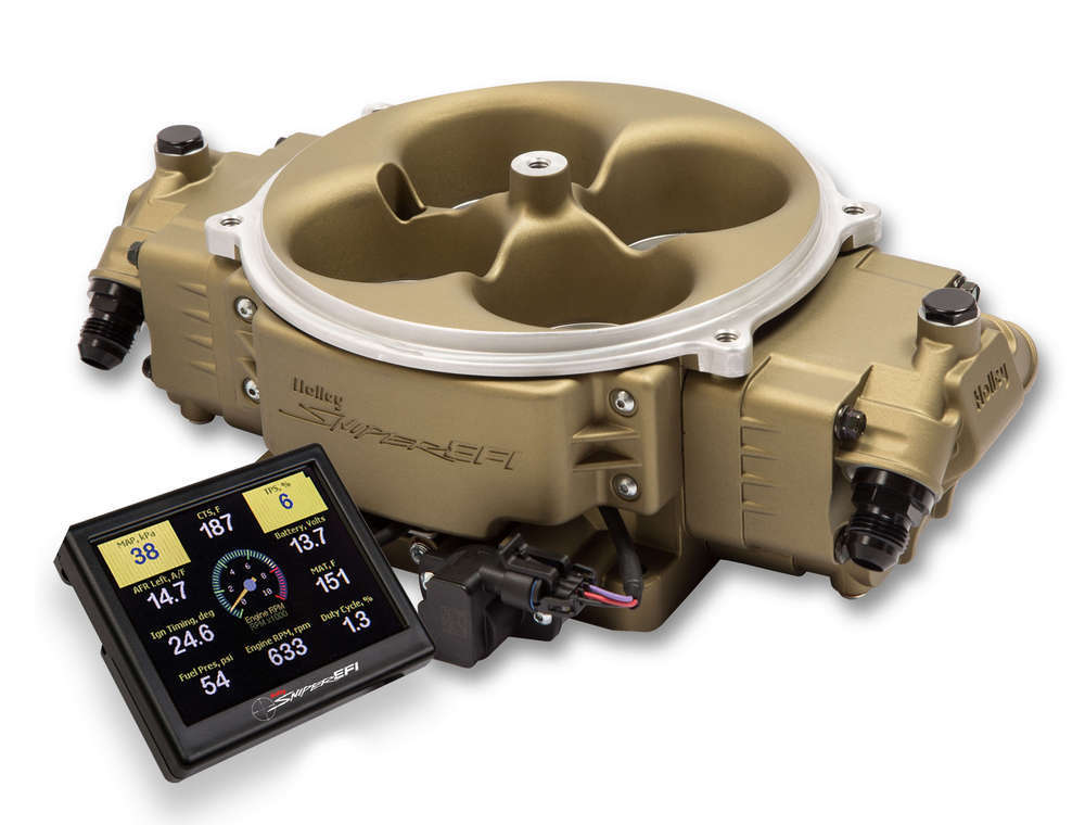 Holley 550-843 Fuel Injection, Sniper EFI, Throttle Body, Dominator Flange, Fittings / O2 Sensor / Programmer Included, Fuel Pressure Regulator Recommended, Aluminum, Gold, Kit