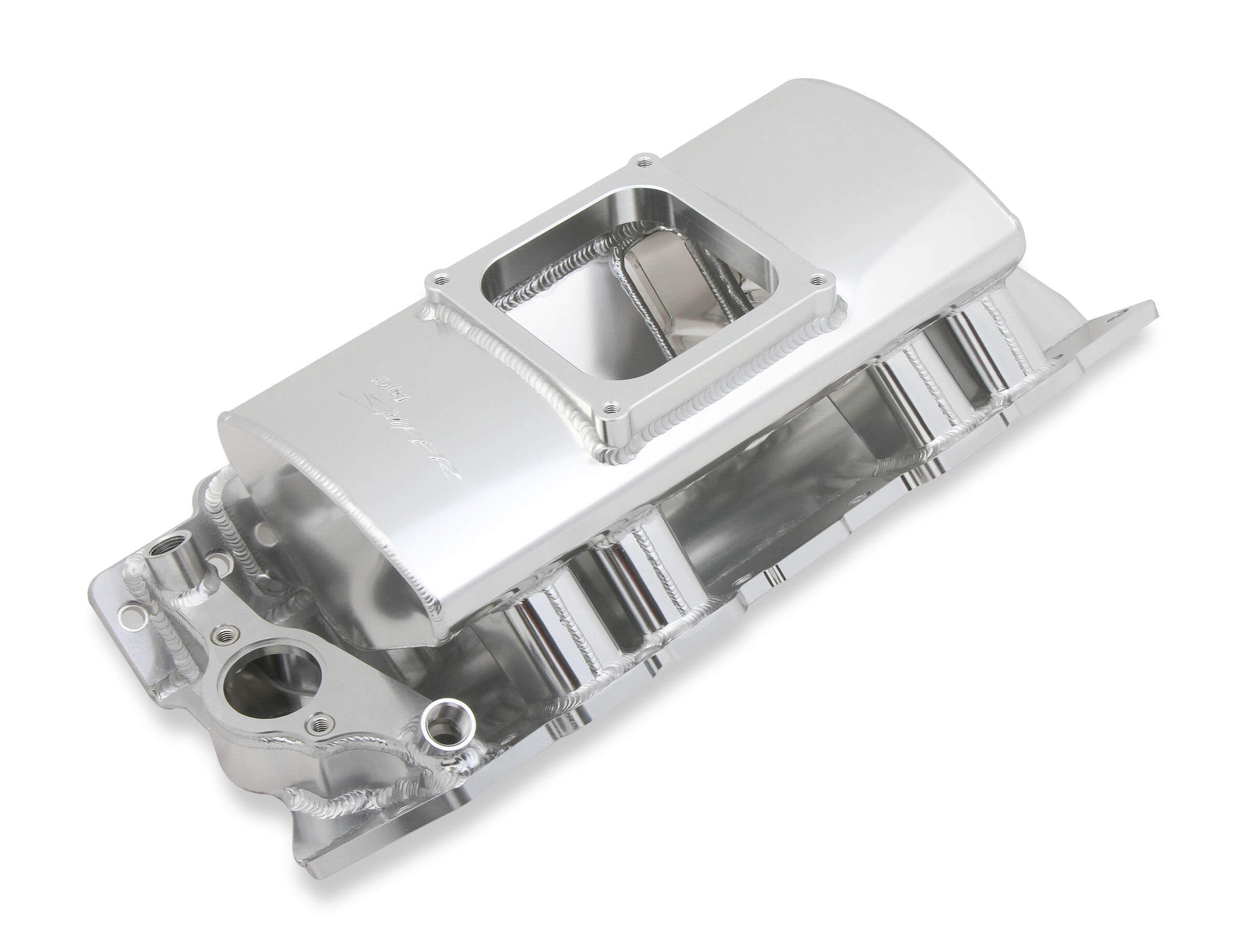 Holley 835161 Intake Manifold, Sniper Sheet Metal Fabricated, Square Bore, Single Plane, Rectangle Port, Sniper Logo, Aluminum, Silver, Big Block Chevy, Kit