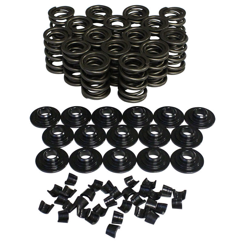 Howards Racing Components 98438-K12 Valve Spring Kit, Dual Spring, 353 lb/in Rate, 1.160 in Coil Bind, 0.950 in OD, Steel Cups / Locks / Retainers, Kit