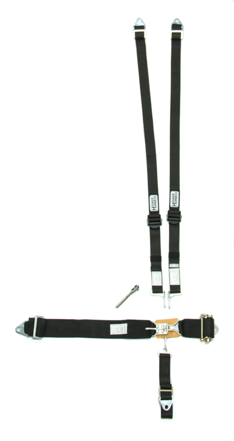 Hooker Harness 51110 Harness, 5 Point, Latch and Link, SFI 16.1, Ratchet Adjust, Bolt-On / Wrap Around, Individual Harness, HANS Ready, Black, Kit