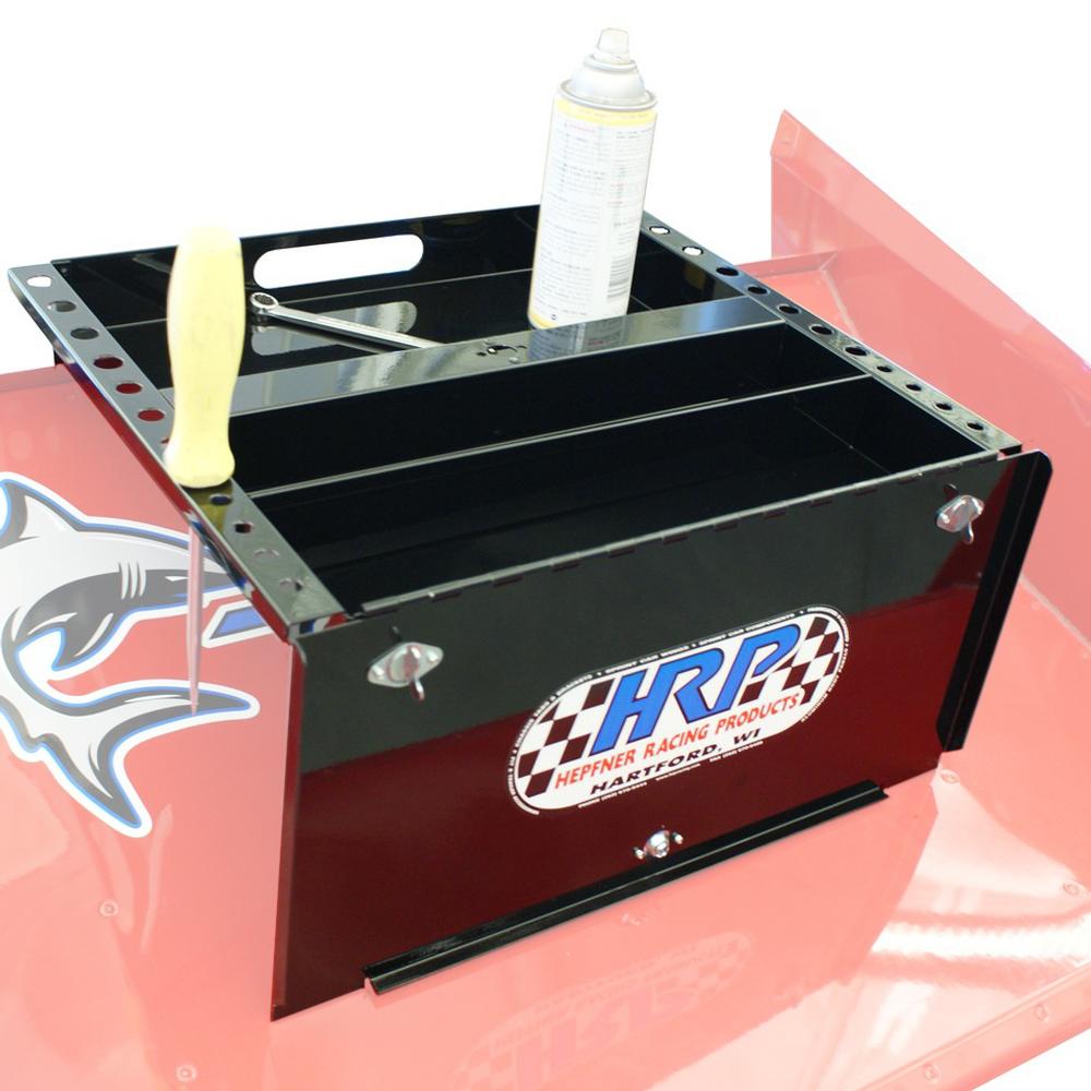 Hepfner Racing Products HRP6009-BLK Tool Tray, Sprint Car Nose Wing, Aluminum, HRP Logo, Black Powder Coat, Each