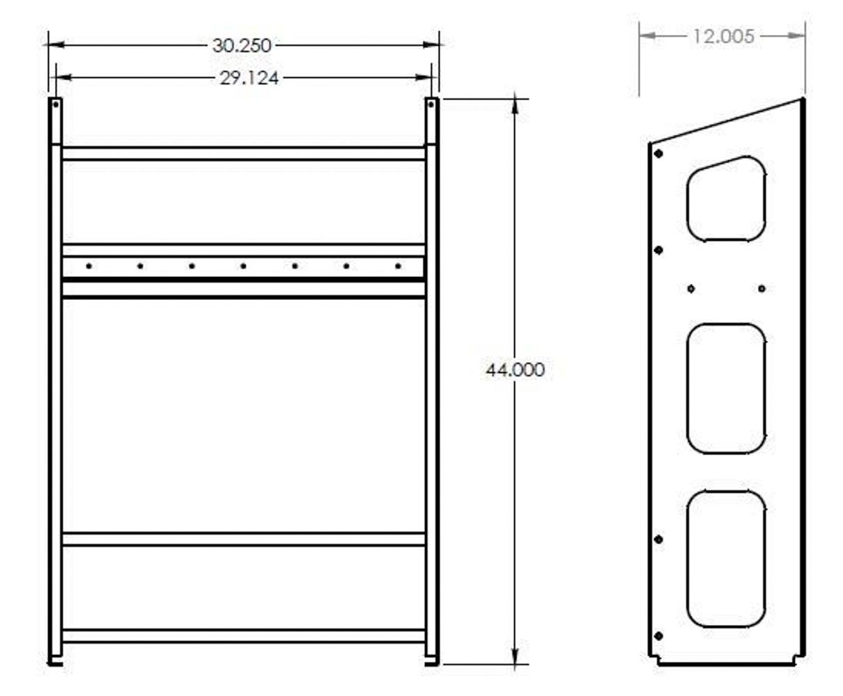 Hepfner Racing Products HRP6359-6-BLK Utility Jug Rack, 6 Bay, 30-1/4 x 44 x 12 in, Aluminum, Black Powder Coat, Each