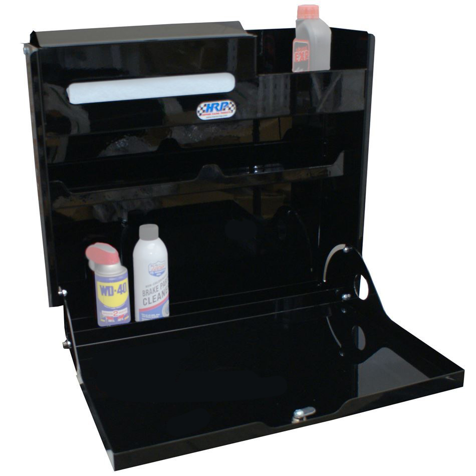 Hepfner Racing Products HRP6410-BLK Trailer Cabinet, Wall Mount, 23 in Square, Integral Utility Shelf, Aluminum, Black Powder Coat, Each