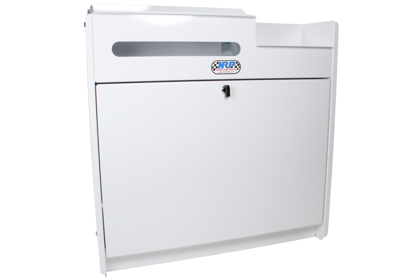 Hepfner Racing Products HRP6410-WHT Trailer Cabinet, Wall Mount, 23 in Square, Integral Utility Shelf, Aluminum, White Powder Coat, Each
