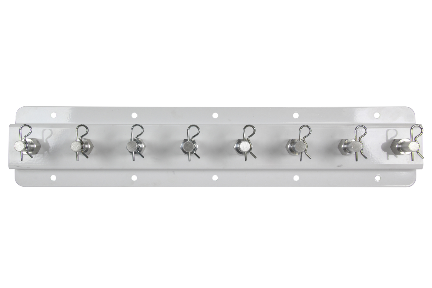 Hepfner Racing Products HRP6524S-S20-WHT Shock Rack, Single Row, Wall Mount, 20 in Long, 8 Shock Capacity, Aluminum, White, Each