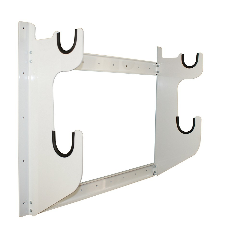 Hepfner Racing Products HRP6775-WHT Axle Rack, Wall Mount, 1 Front Axle and 1 Rear Axle Capacity, Aluminum, White Powder Coat, Each