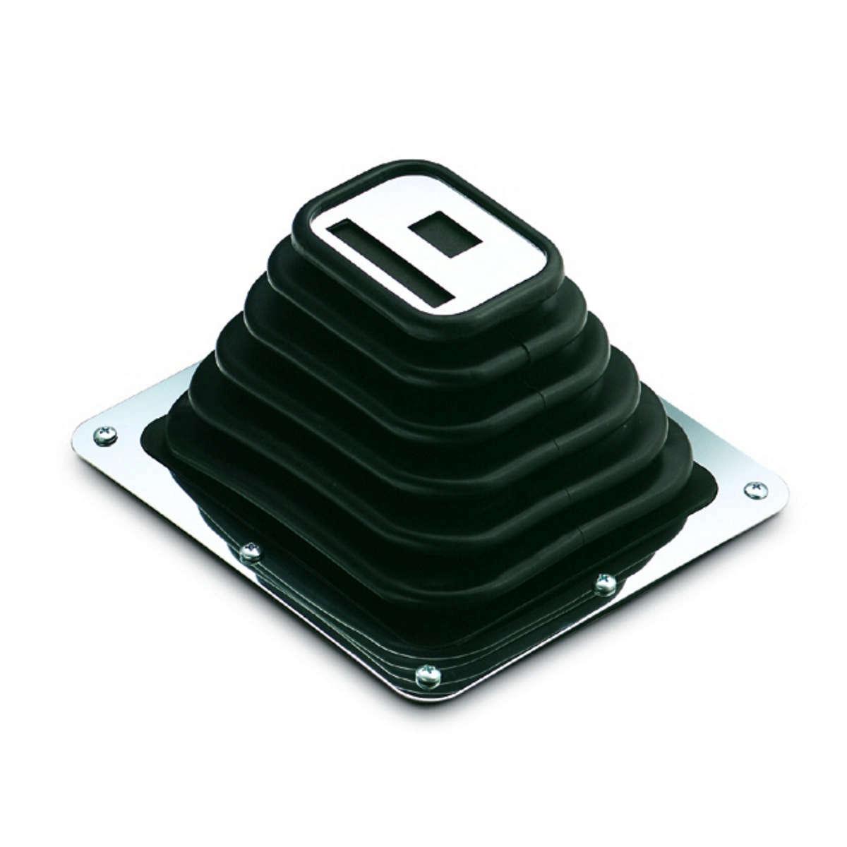 Hurst 114-0010 Shifter Boot, Rectangular, 8-3/4 x 7-3/4 in Base, Rectangle Boot, Chrome Steel Shifter Boot Ring, Rubber, Black, Hurst Super Shifter 3, Kit