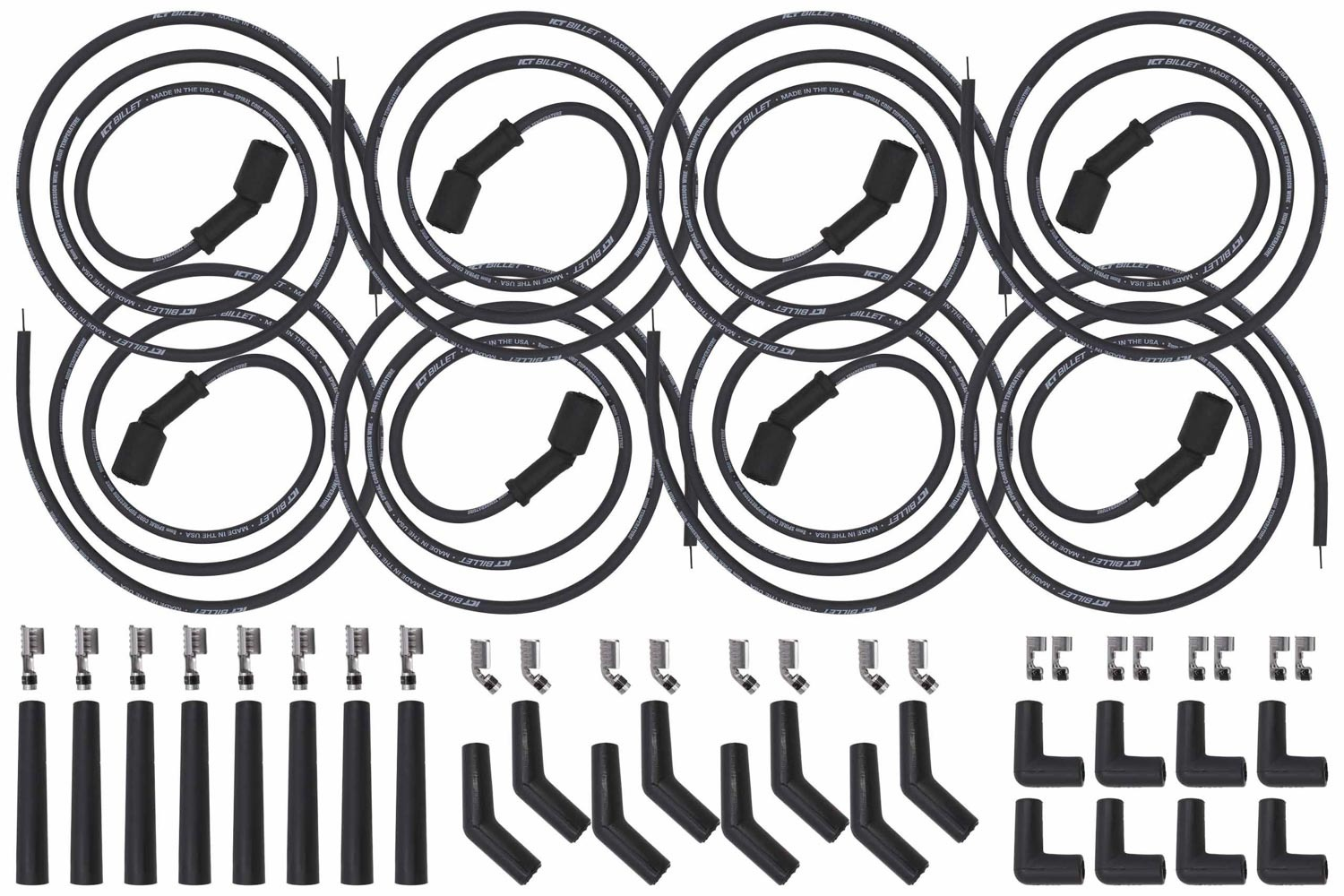 ICT Billet 551083 Spark Plug Wire Set, Spiral Core, 8 mm, Black,  Factory Style Boots / Terminals, GM LS-Series / Gm GenV LT-Series, Kit