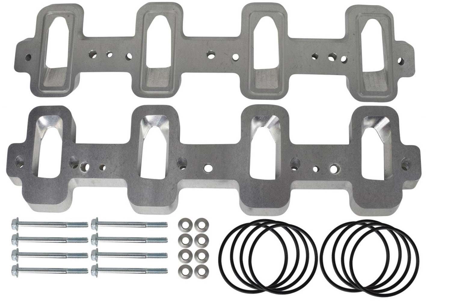 ICT Billet 551316 Intake Manifold Spacer, 1/2 in Tall, Gaskets / Hardware Included, Rectangle to Cathedral Port, Aluminum, Natural, GM LS-Series, Kit