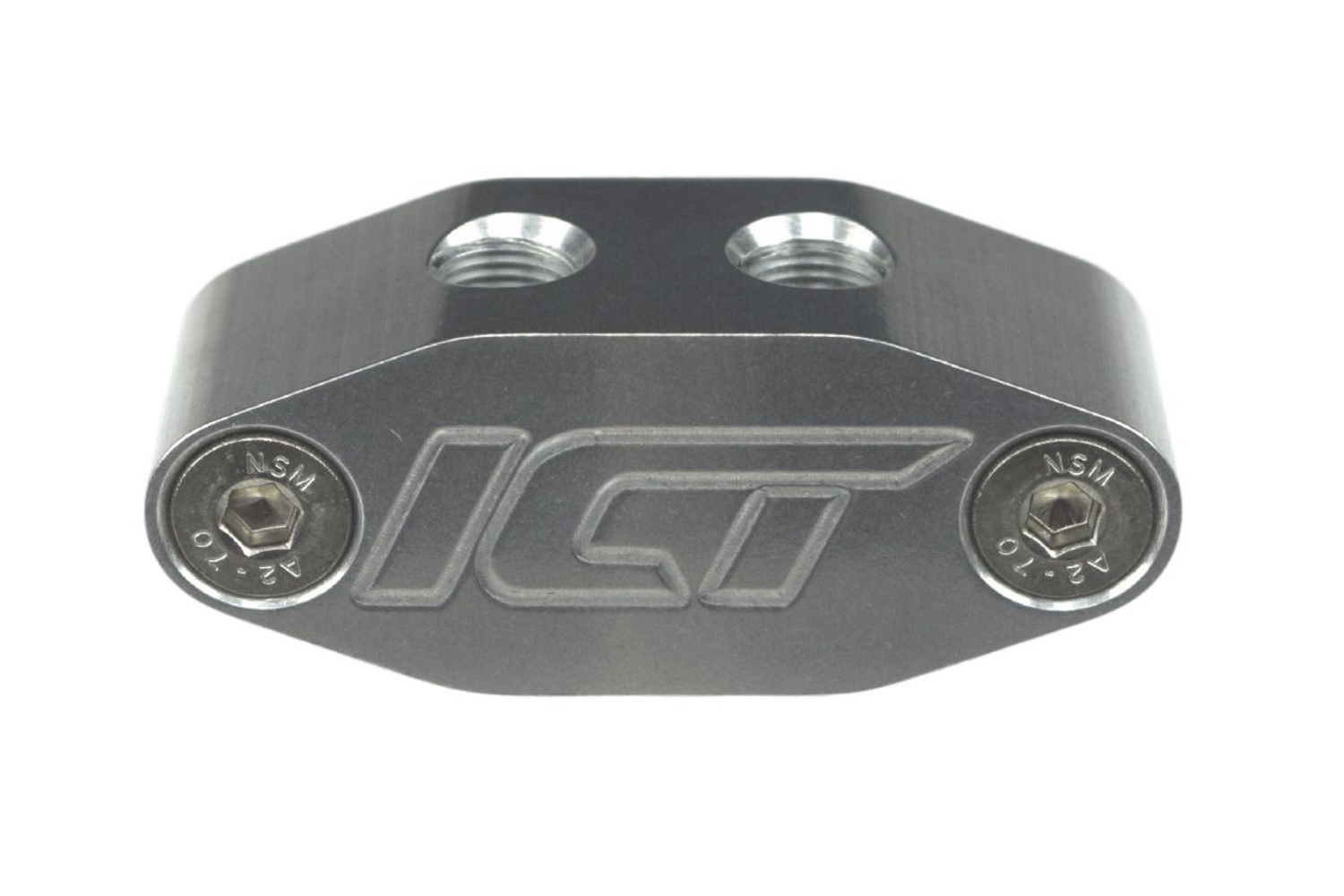 ICT Billet 551541 Oil Cooler Block Off Plate, 16 mm x 1.5 Female Port / 1/8 in NPT Female Ports, Hardware / O-Ring, Aluminum, Natural, GM LS-Series, Each