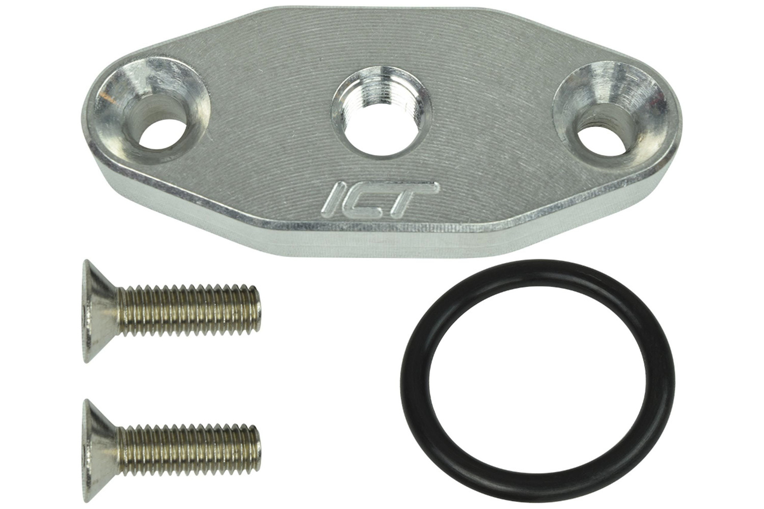 ICT Billet 551608 Oil Cooler Adapter, 1/8 in NPT Female Port, 1/2 in Thick, Hardware / O-Ring, Aluminum, Natural, GM LS-Series, Each