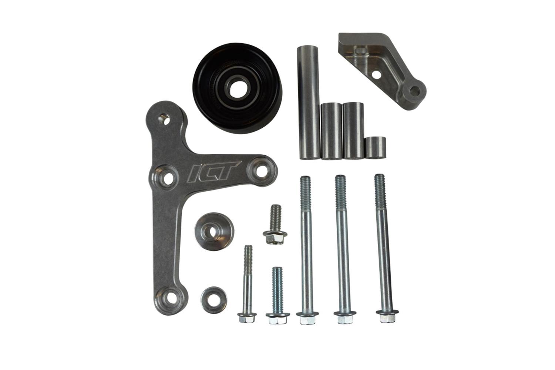 ICT Billet 551668-3 Alternator Bracket, Low Mount, Driver Side, Block Mount, Aluminum, Natural, OEM Alternator, GM LS-Series, Kit