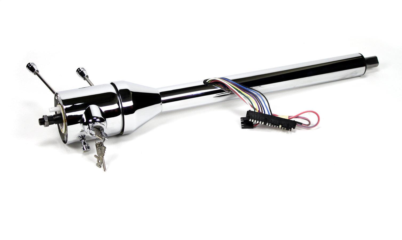Ididit 1520320020 Steering Column, Tilt, 2 in Tube, 32 in Length, Hazard / Key / Turn Signal, Steel, Chrome, Universal, Each