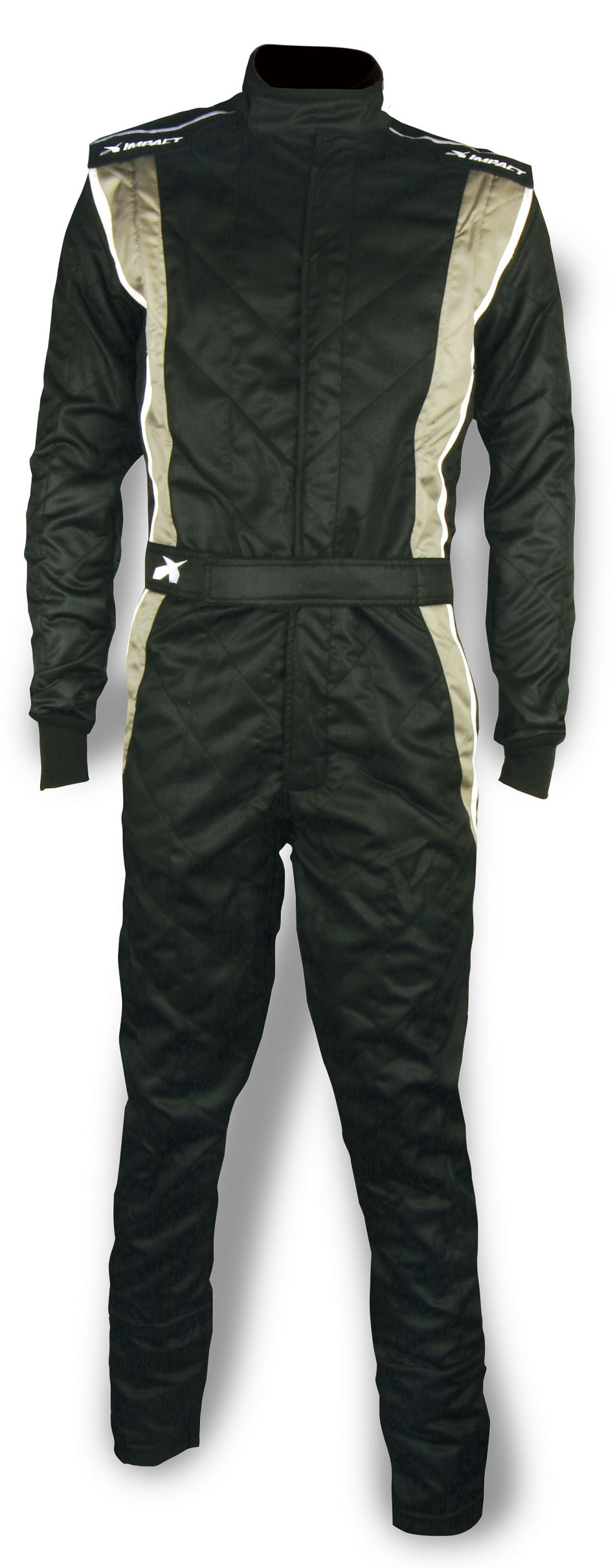 Impact Racing 25215513 Suit, Phenom DS, Driving, 1 Piece, SFI-3.2A/5, FIA Approved, Double Layer, Nomex, Black/Gray, Large, Each