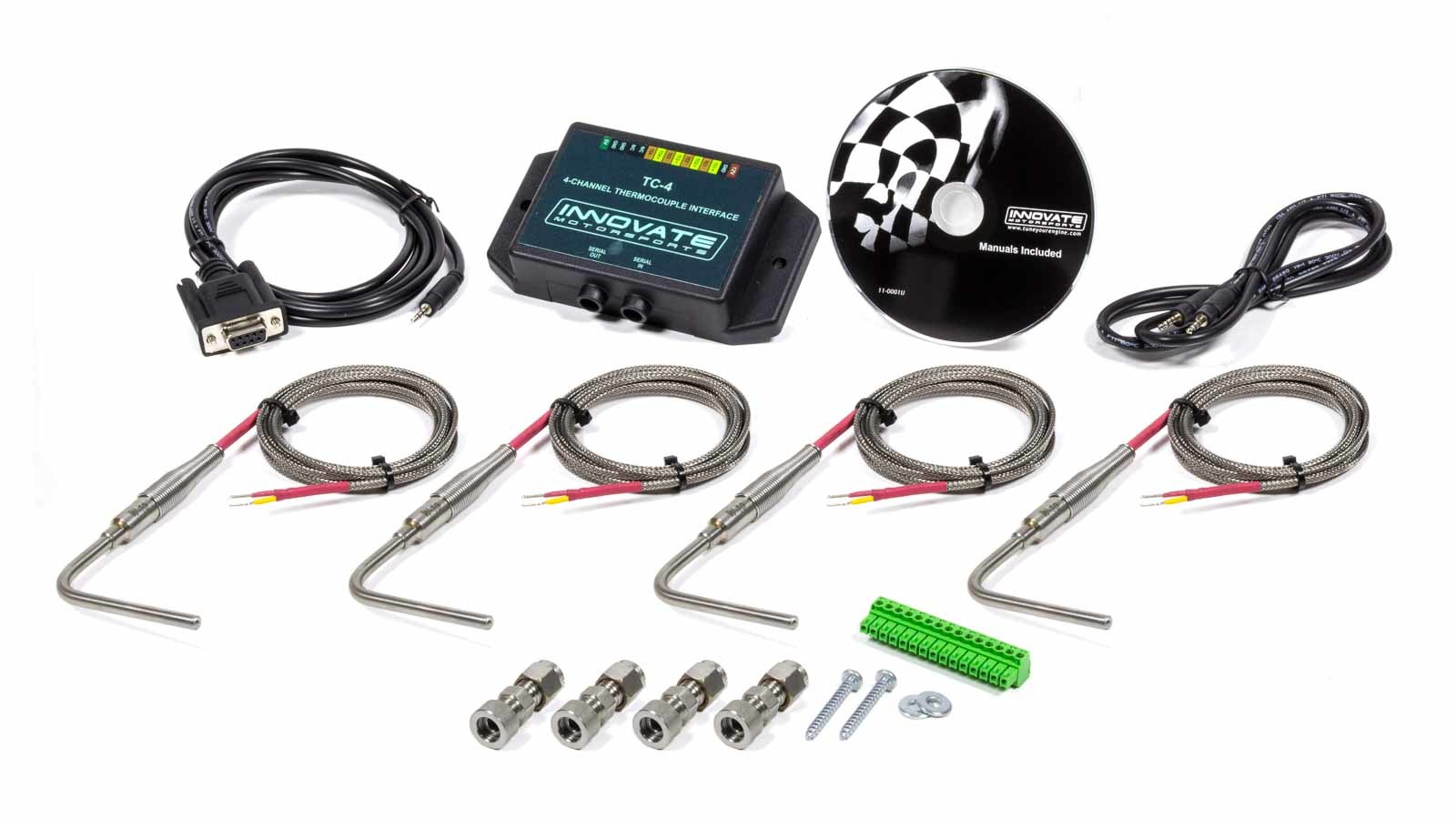 Innovate Motorsports 3895 Data Logger Thermocouple Amplifier Interface, TC-4, 4 Channel, 4 Type-K EGT Probes / Fittings Included, Innovate LM-1/2 or MTS Components, Kit