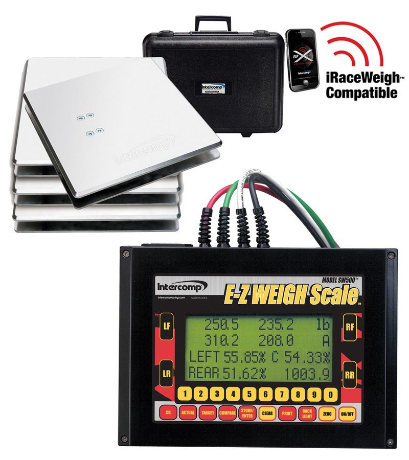 Intercomp 170130 Vehicle Scale, SW500 E-Z Weigh Kart, Electric, 10 in Square, 400 lb Capacity Pad, Case / Controller / Pads / Wiring, Aluminum, Natural, Kit