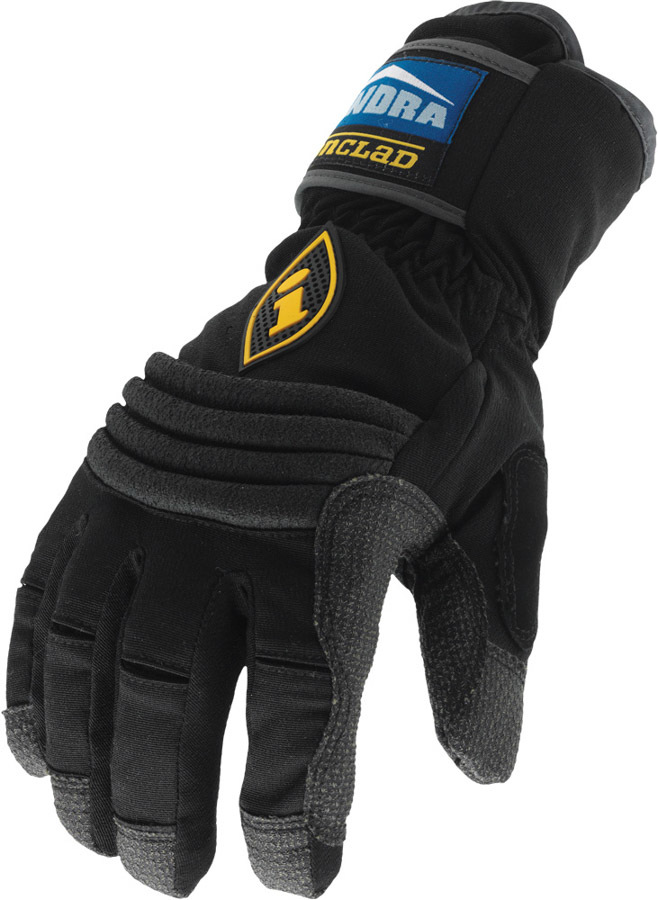Ironclad CCT2-04-L Gloves, Shop, Cold Condition Tundra, Insulated / Reinforced Fingertips and Palm, Hook and Loop Closure, Kevlar, Black, Large, Pair