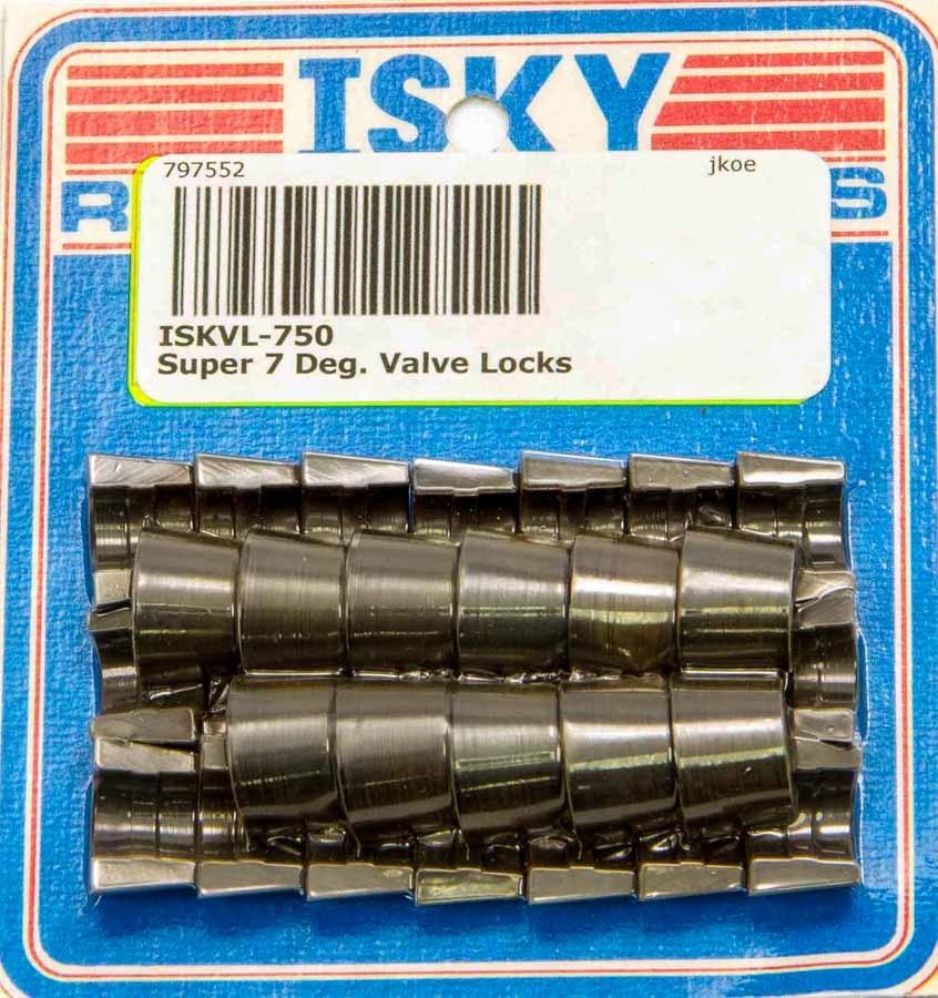 Isky Cams VL-700 Valve Lock, Super 7, 7 Degree, 11/32 in Valve Stem, Standard Height, Chromoly, Natural, Set of 32