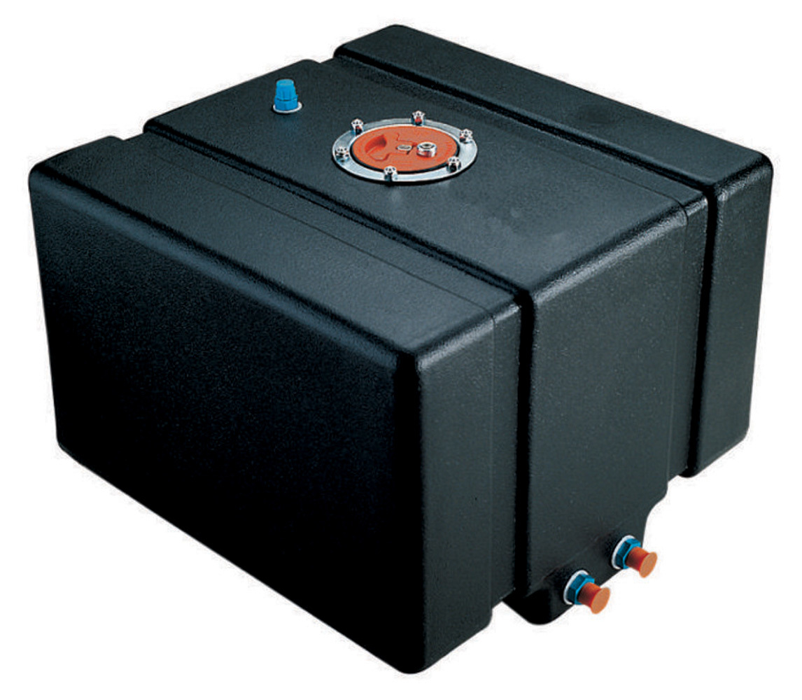 Jaz 250-012-NF Fuel Cell, Drag Race, 12 gal, 17-1/2 x 16 in x 10 in Tall, Two 8 AN Outlets, 6 AN Return, Plastic, Black, Each