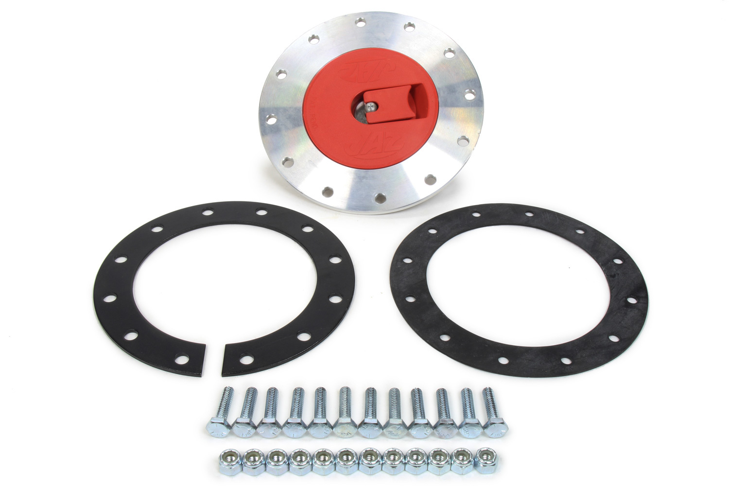 Jaz 350-202-06 Fuel Cell Filler Plate, Vented Positive Lock Cap, Flat Mount, 12-Bolt Flange / Gasket, Steel / Plastic, Red / Zinc Oxide, Kit