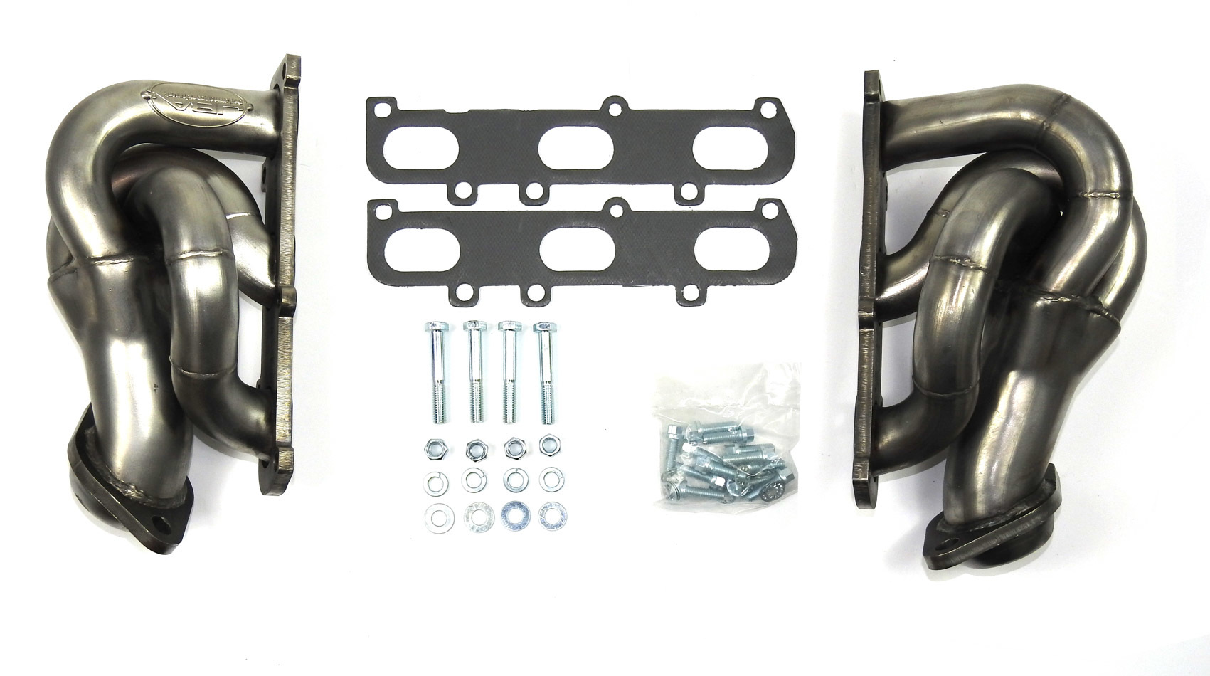 JBA Exhaust 1682S Headers, Cat4ward, Shorty Style, 1-5/8 in Primary, 2-1/2 in Collector, Stainless, Natural, 3.5 / 3.7 L, Ford EcoBoost, Ford Fullsize Truck 2011-17, Kit