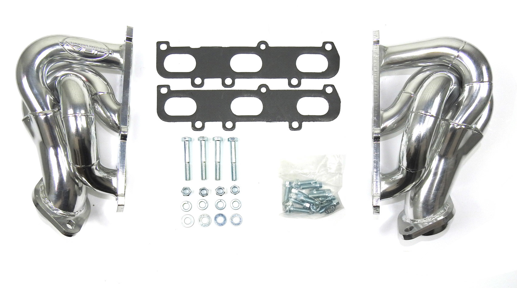 JBA Exhaust 1682SJS Headers, Cat4ward, Shorty Style, 1-5/8 in Primary, 2-1/2 in Collector, Stainless, Silver Ceramic, 3.5 / 3.7 L, Ford EcoBoost, Ford Fullsize Truck 2011-17, Kit