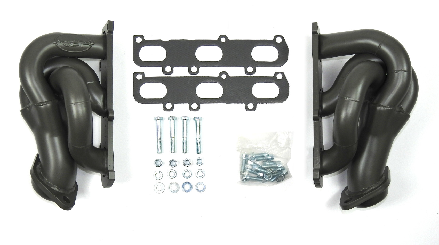 JBA Exhaust 1682SJT Headers, Cat4ward, Shorty Style, 1-5/8 in Primary, 2-1/2 in Collector, Stainless, Titanium Metallic Ceramic, 3.5 / 3.7 L, Ford EcoBoost, Ford Fullsize Truck 2011-17, Kit