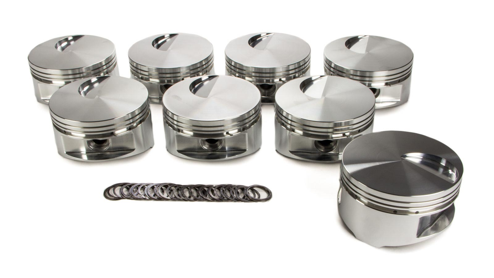 JE Pistons 170878 Piston, 460 Flat Top, Forged, 4.440 in Bore, 1/16 x 1/16 x 3/16 in Ring Grooves, Minus 3.0 cc, Big Block Ford, Set of 8