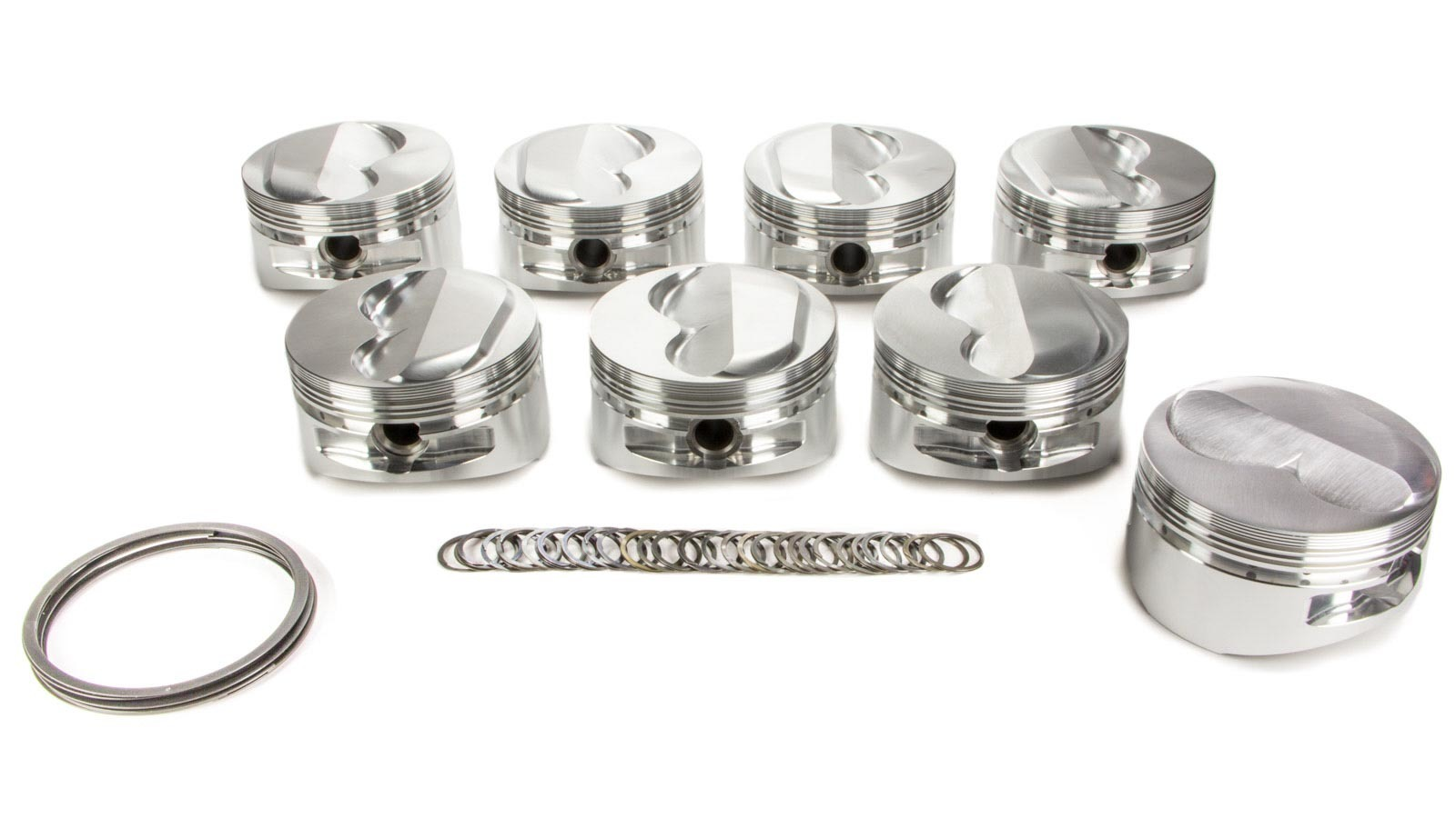 JE Pistons 173586 Piston, Nitrous Series Dome, Forged, 4.155 in Bore, 1/16 x 1/16 x 3/16 in Ring Grooves, Plus 3.0 cc, Small Block Chevy, Set of 8