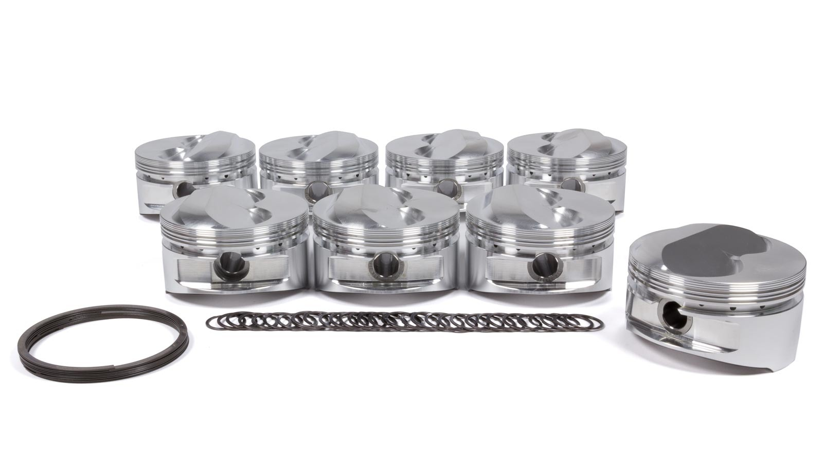 JE Pistons 182006 Piston, Small Block Dome, Forged, 4.040 in Bore, 1/16 x 1/16 x 3/16 in Ring Grooves, Plus 11.0 cc, Small Block Chevy, Set of 8