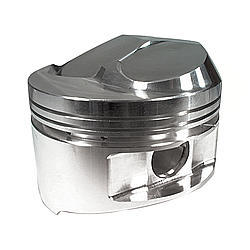 JE Pistons 182024 Piston, Small Block Dome, Forged, 4.125 in Bore, 1/16 x 1/16 x 3/16 in Ring Grooves, Plus 6.1 cc, Small Block Chevy, Set of 8