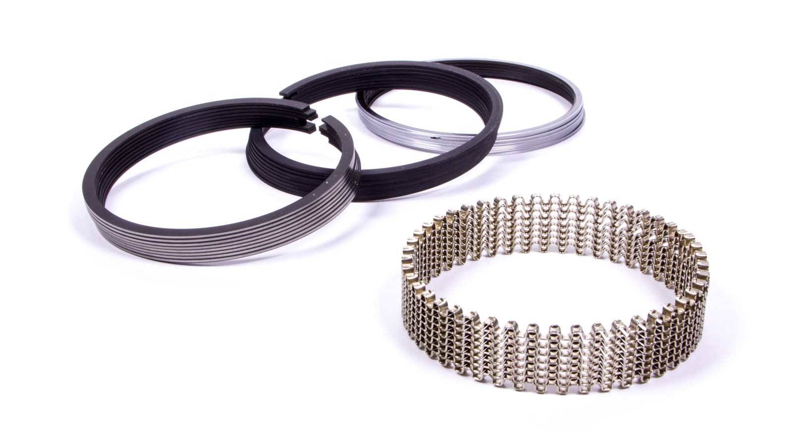 JE Pistons S100S8-4040-5 Piston Rings, Sportsman Series, 4.040 in Bore, File Fit, 1/16 x 1/16 x 3/16 in Thick, Standard Tension, Plasma Moly, 8 Cylinder, Kit