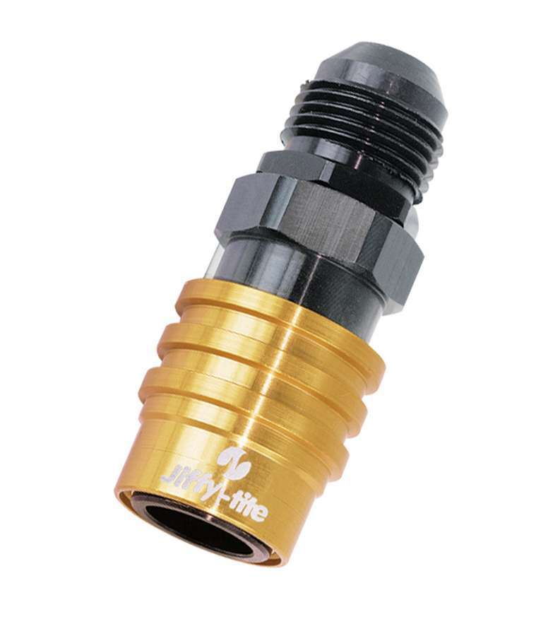 Jiffy Tite 21403 Quick Release Adapter, 2000 Series, Straight, 3 AN Male to Quick Release Socket, Valved, FKM Seal, Aluminum, Black / Gold Anodized, Each