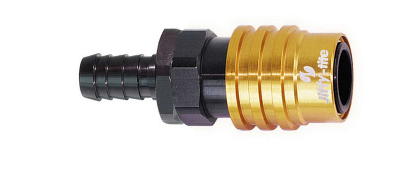 Jiffy Tite 21506 Quick Release Adapter, 2000 Series, Straight, 6 AN Hose Barb to Quick Release Socket, Valved, FKM Seal, Aluminum, Black / Gold Anodize, Each