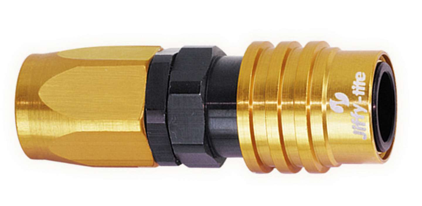 Jiffy Tite 21606 Quick Release Hose End, 2000 Series, Straight, 6 AN Hose to Quick Release Socket, Valved, FKM Seal, Aluminum, Black / Gold Anodize, Each