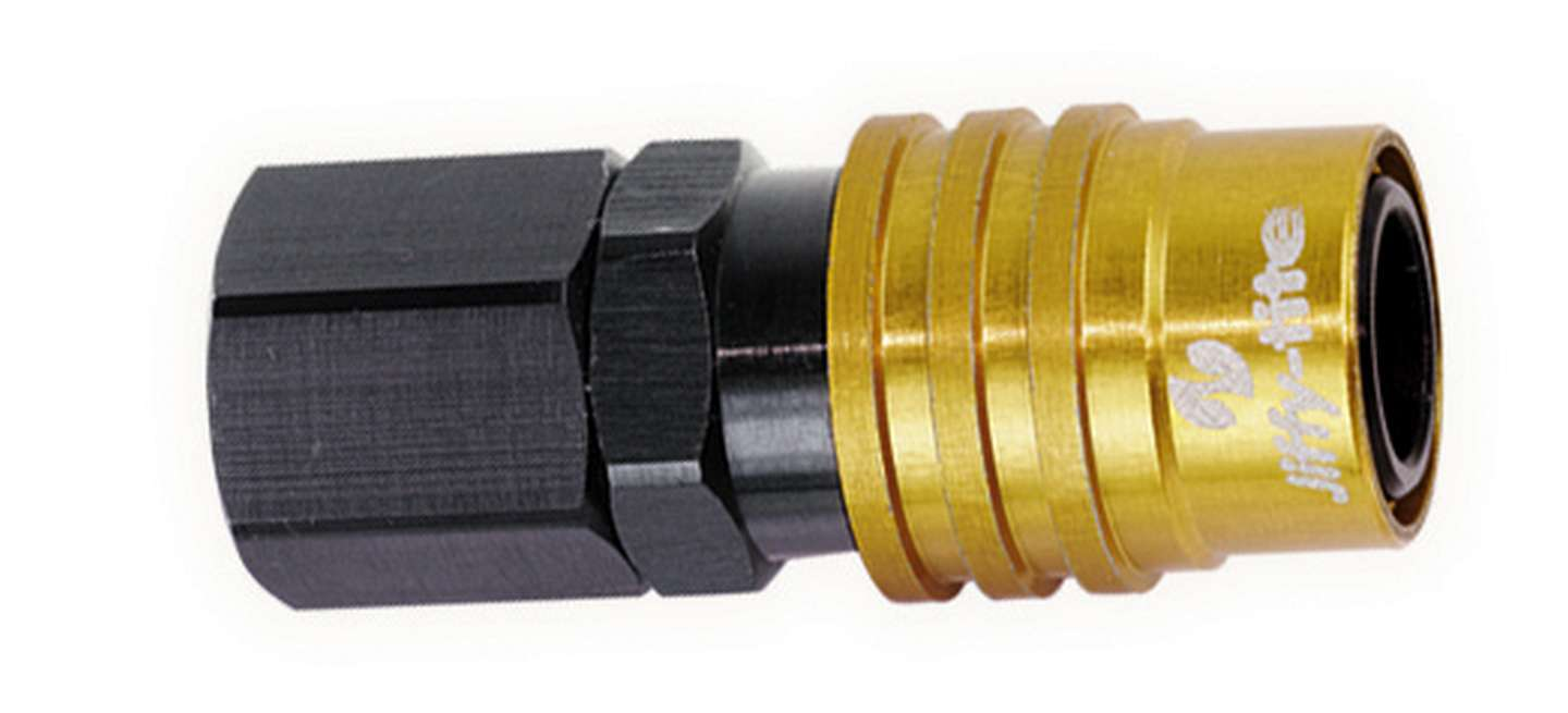 Jiffy Tite 21702 Quick Release Adapter, 2000 Series, Straight, 1/8 in NPT Female to Quick Release Socket, Valved, FKM Seal, Aluminum, Black / Gold Anodized, Each