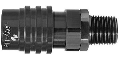 Jiffy Tite 31806J Quick Release Hose End, 3000 Series, Straight, 1/4 in NPT to Quick Release Socket, Valved, FKM Seal, Aluminum, Black Anodized, Each