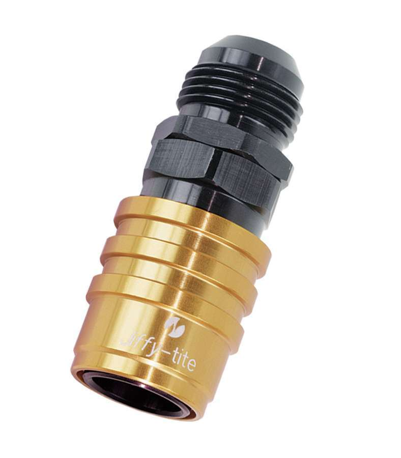 Jiffy Tite 51412 Quick Release Adapter, 5000 Series, Straight, 12 AN Male to Quick Release Plug, Valved, FKM Seal, Aluminum, Black / Gold Anodize, Each